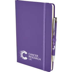 A5 Soft Touch Notebook and Printed Pen