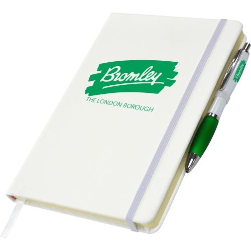 White - White & Green Pen
