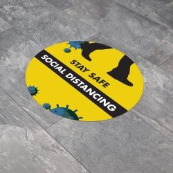 Social Distancing 300mm Round Anti-Slip Floor Sticker