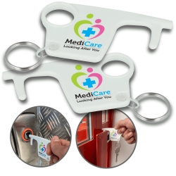 100% Recycled Plastic Hygiene Hook Keyrings - Both Sides