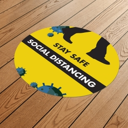 Social Distancing 900mm Round Anti-Slip Floor Sticker
