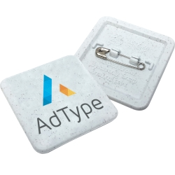Biodegradable 37mm Square Plastic Badges