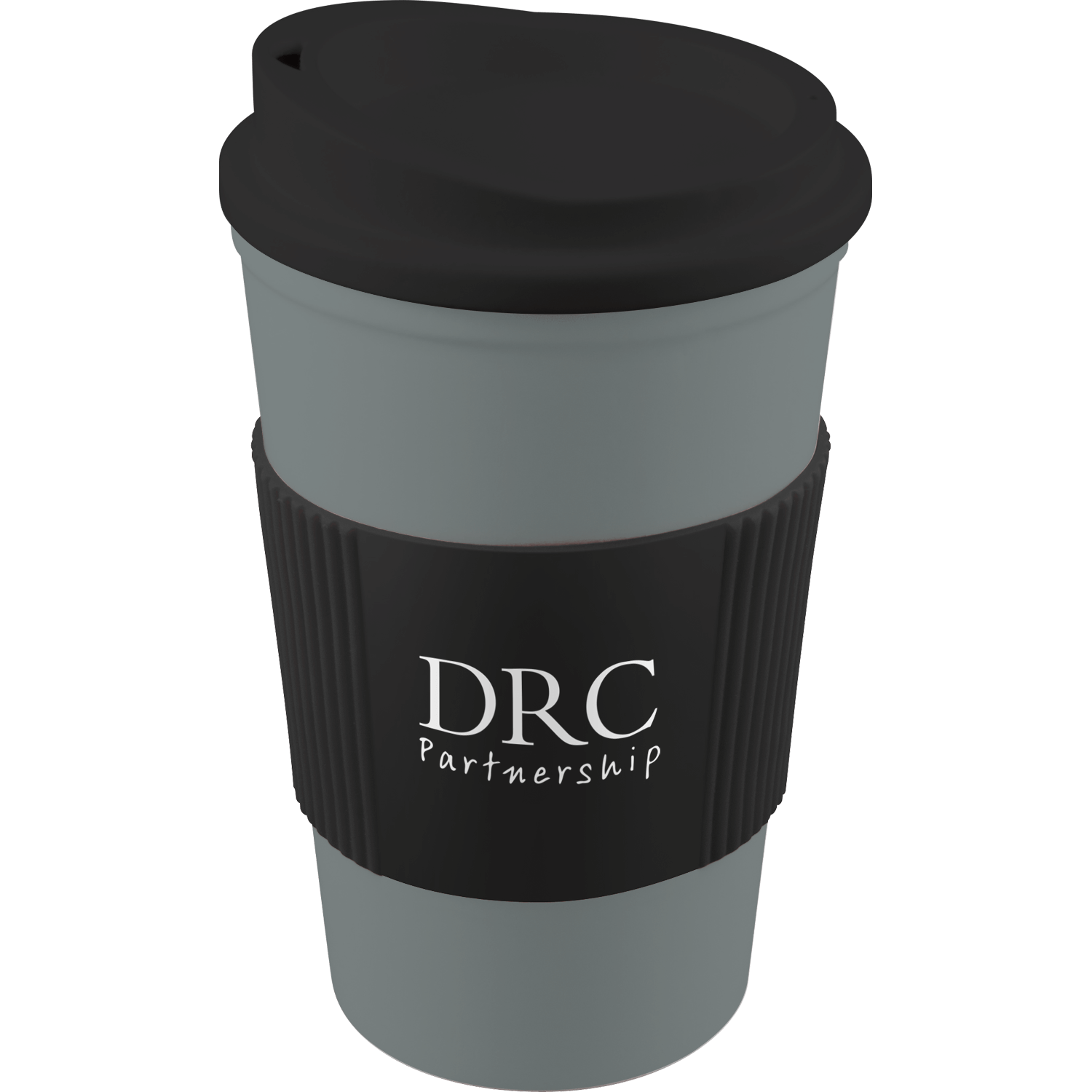 Grey Mug (444) - Black Lid - Black Grip