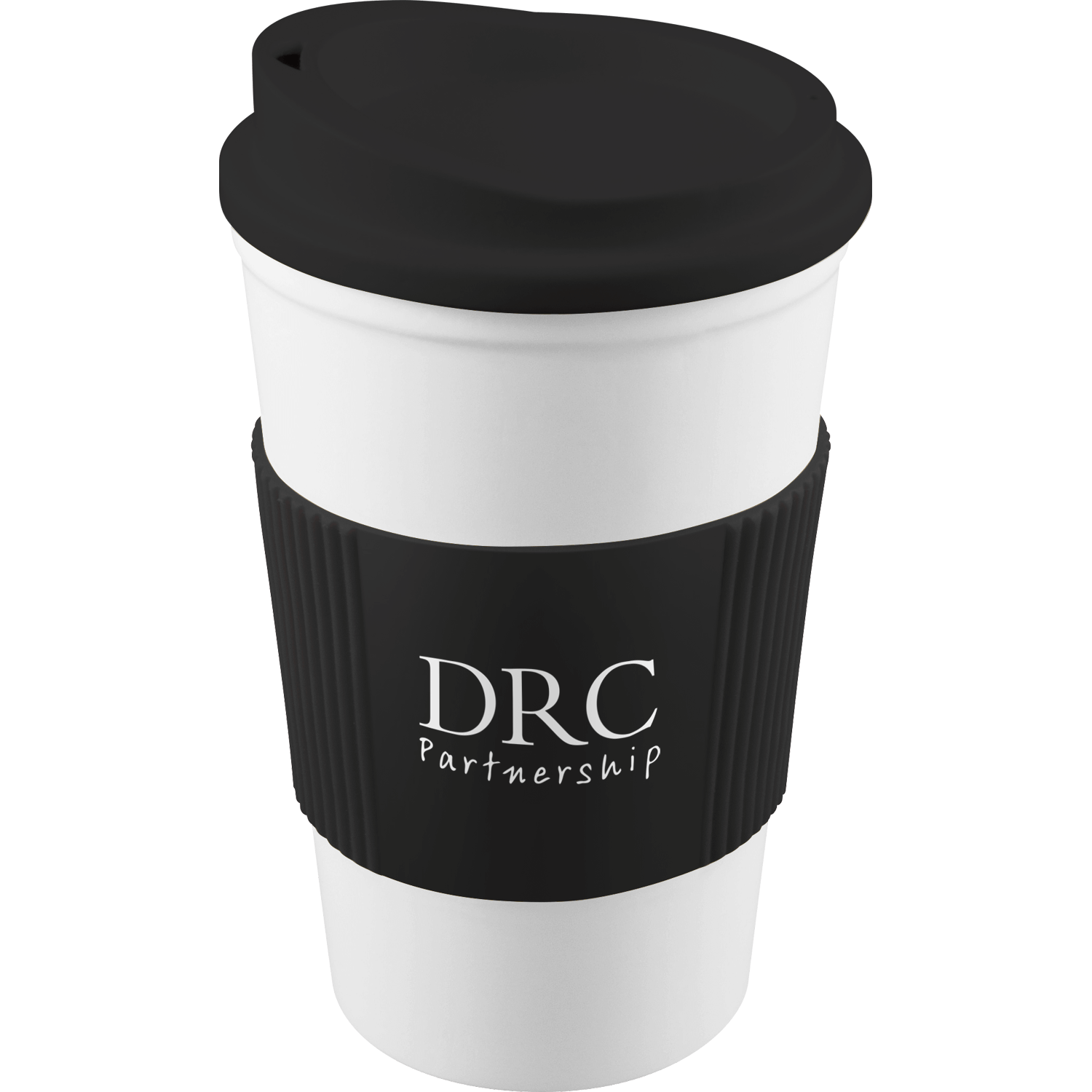 White Mug - Black Lid - Black Grip