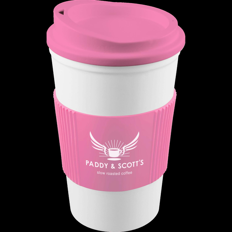 White Mug - Pink Lid (211) - Pink Grip (211)