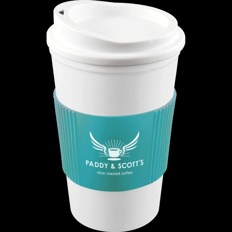 White Mug - White Lid - Aqua Grip (319)