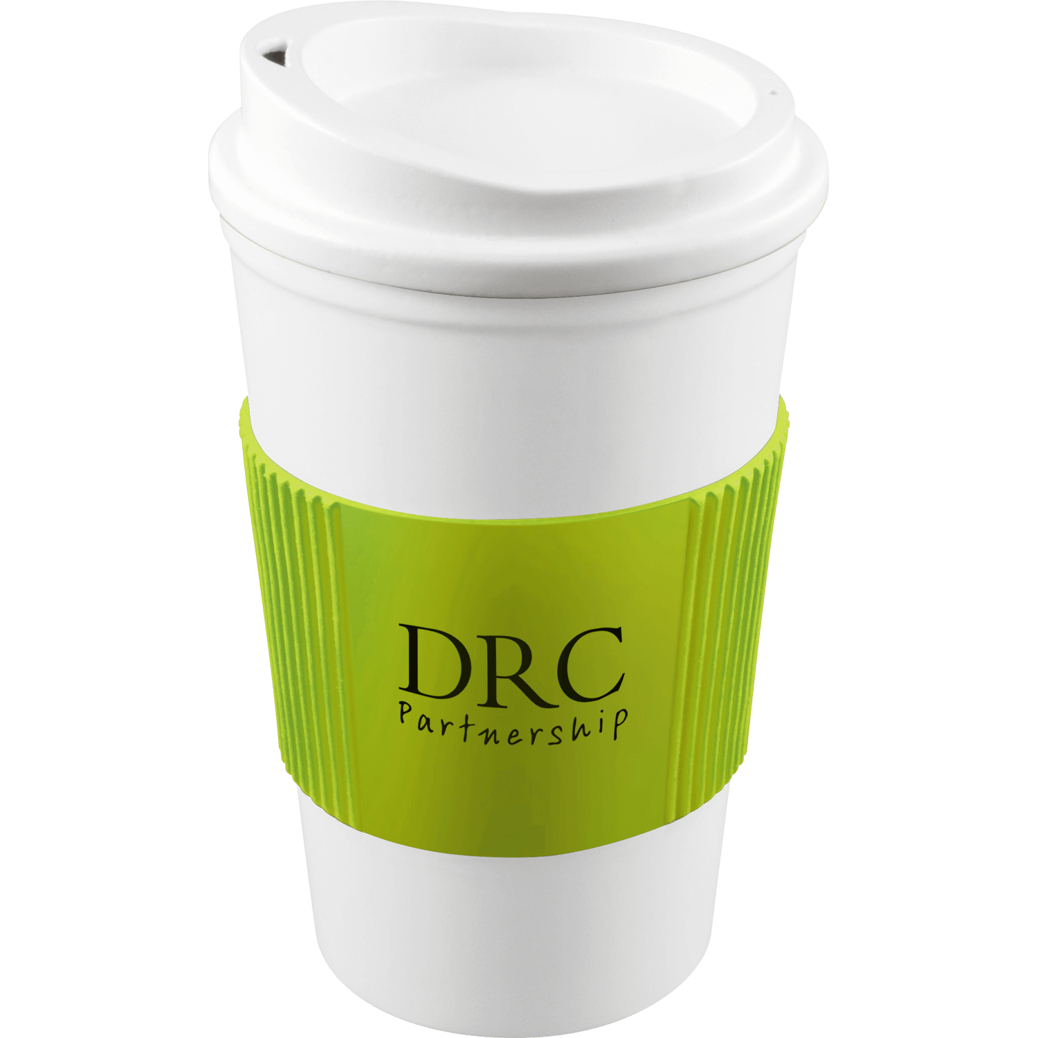 White Mug - White Lid - Lime Grip (583)