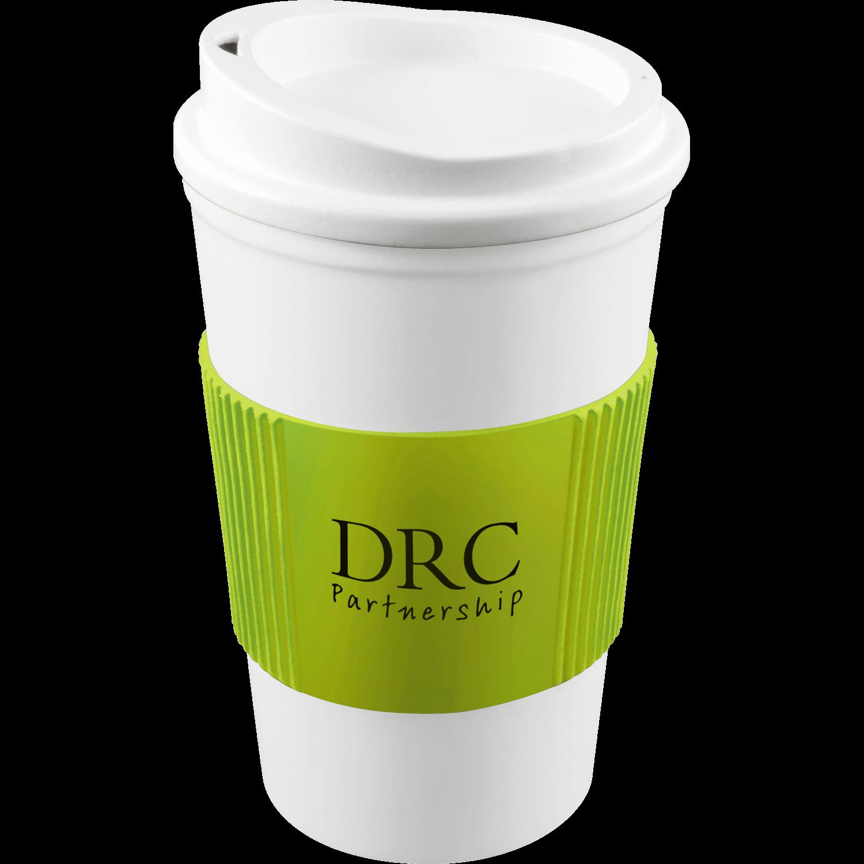 White Mug - White Lid - Lime Grip (583)