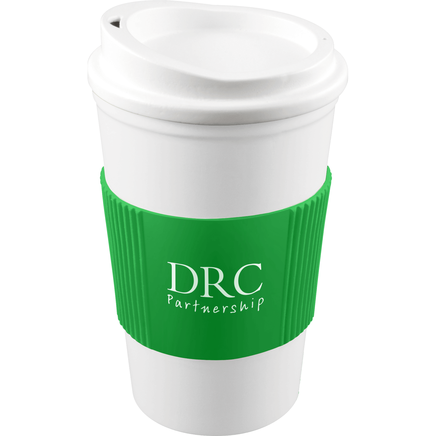 White Mug - White Lid - Green Grip (7481)
