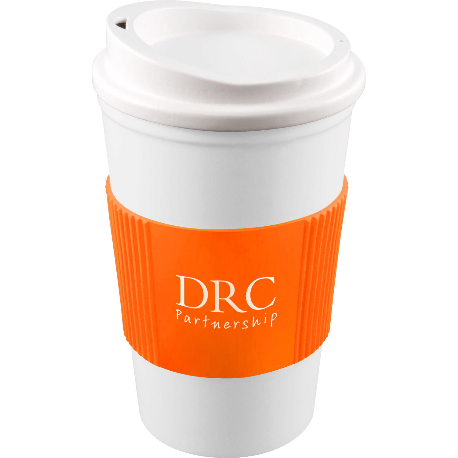 White Mug - White Lid - Orange Grip (151)