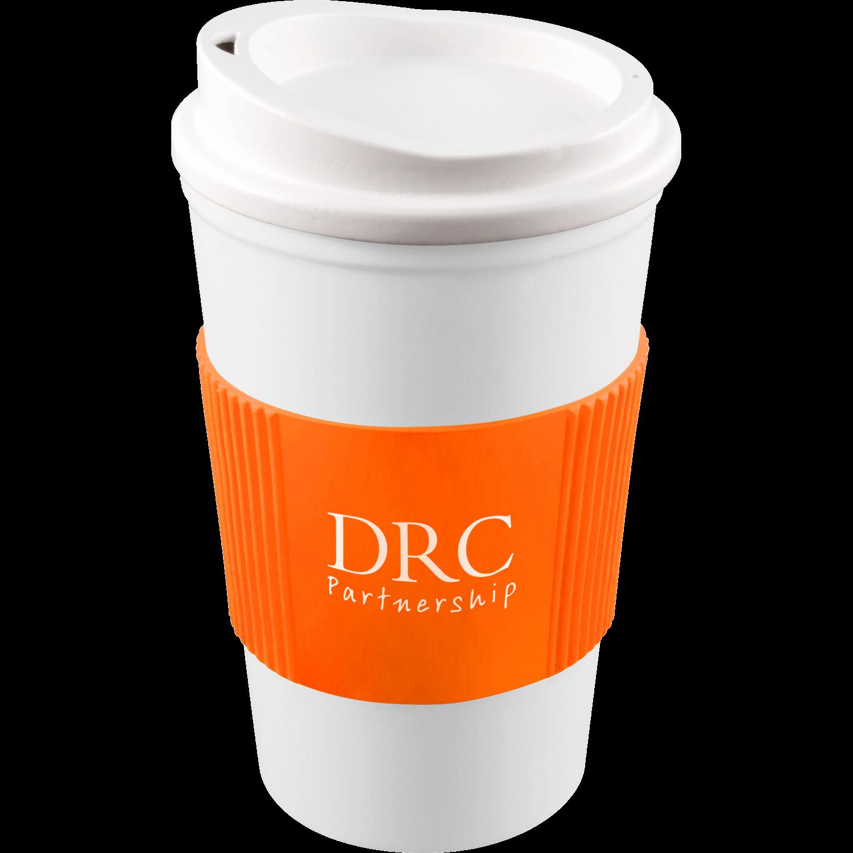 White Mug - White Lid - Orange Grip (151)