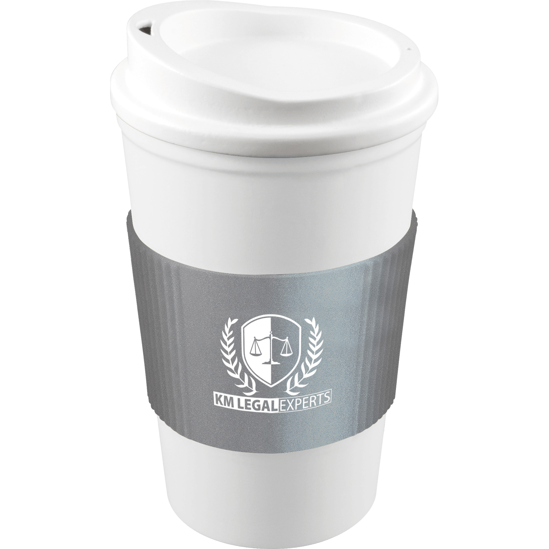 White Mug - White Lid - Silver Grip (877)