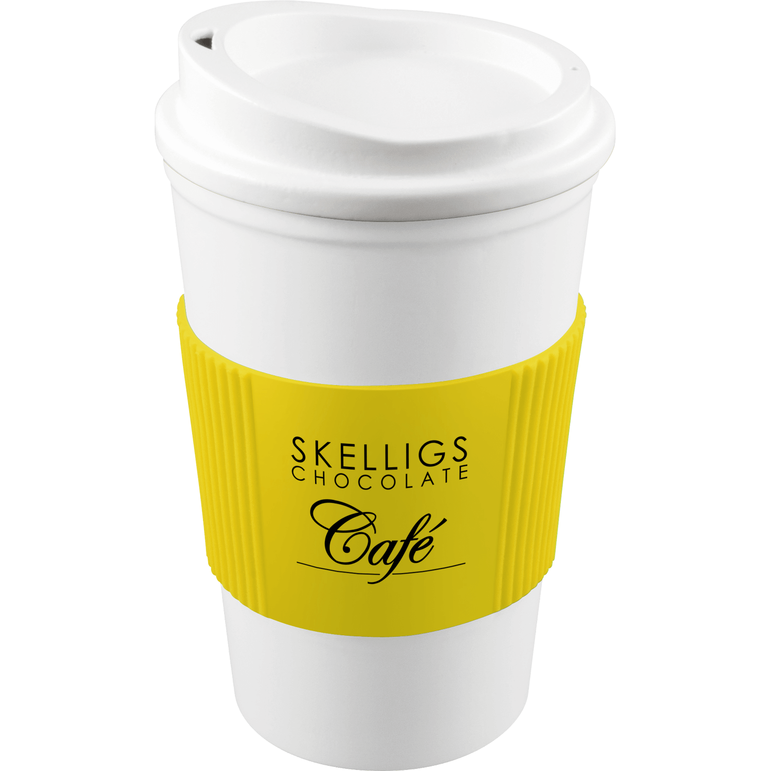 White Mug - White Lid - Yellow Grip (114)