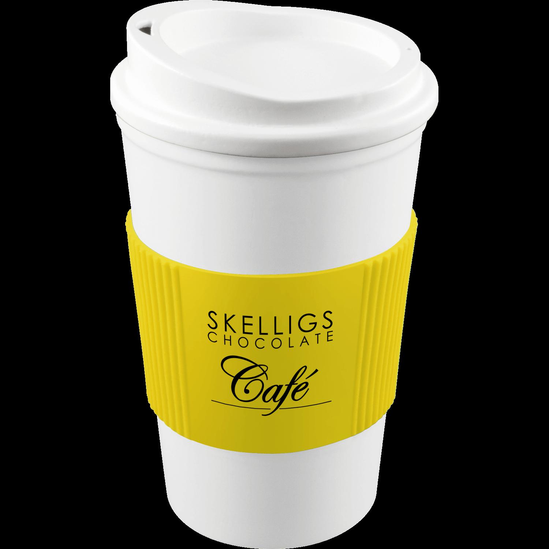 White Mug - White Lid - Yellow Grip (114)
