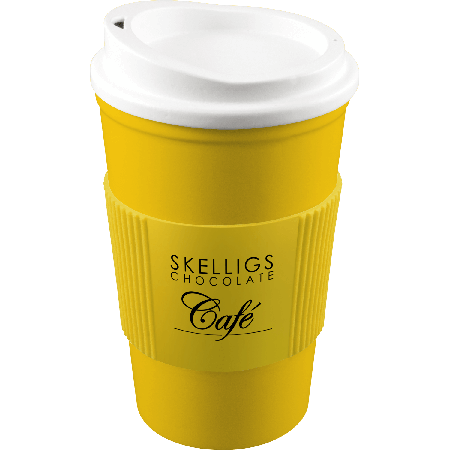 Yellow Mug (114) - White Lid - Yellow Grip (114)