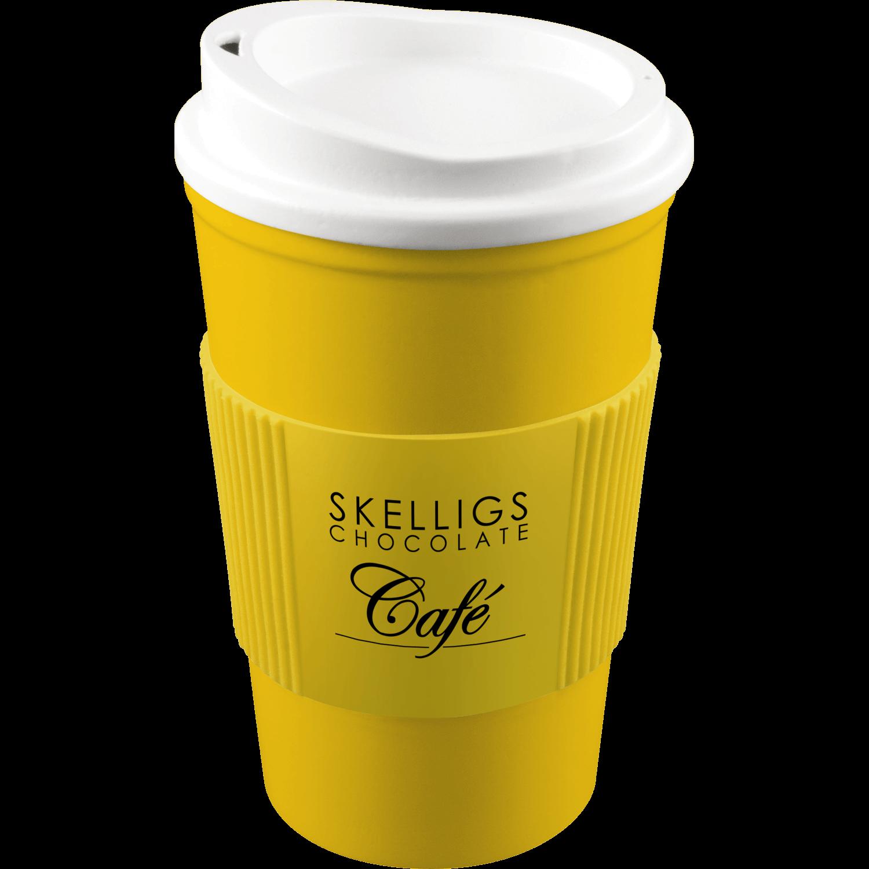 Yellow Mug (114) - White Lid - Yellow Grip (114)