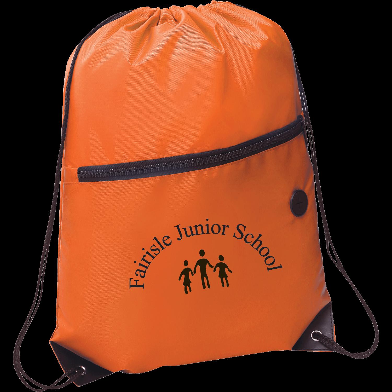 Zipper Drawstring Bag with Earphones Slot