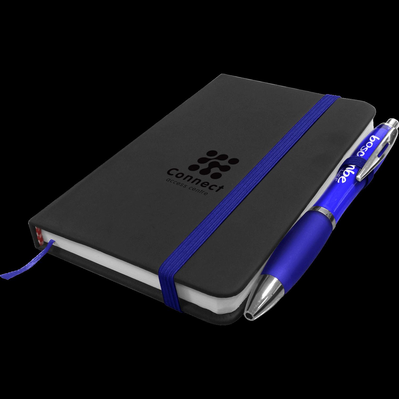 A6 Debossed Noir Notebook with Free Curvy Pen