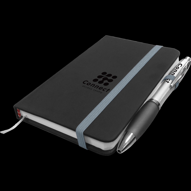A6 Debossed Noir Notebook - Free Curvy Pen