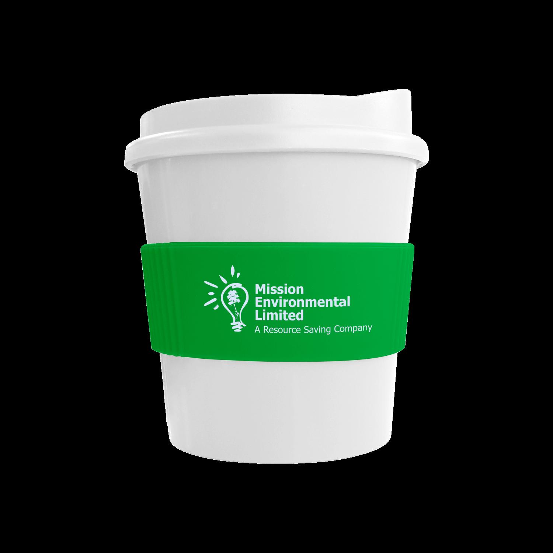 White Mug - White Lid - Green Grip (7481)