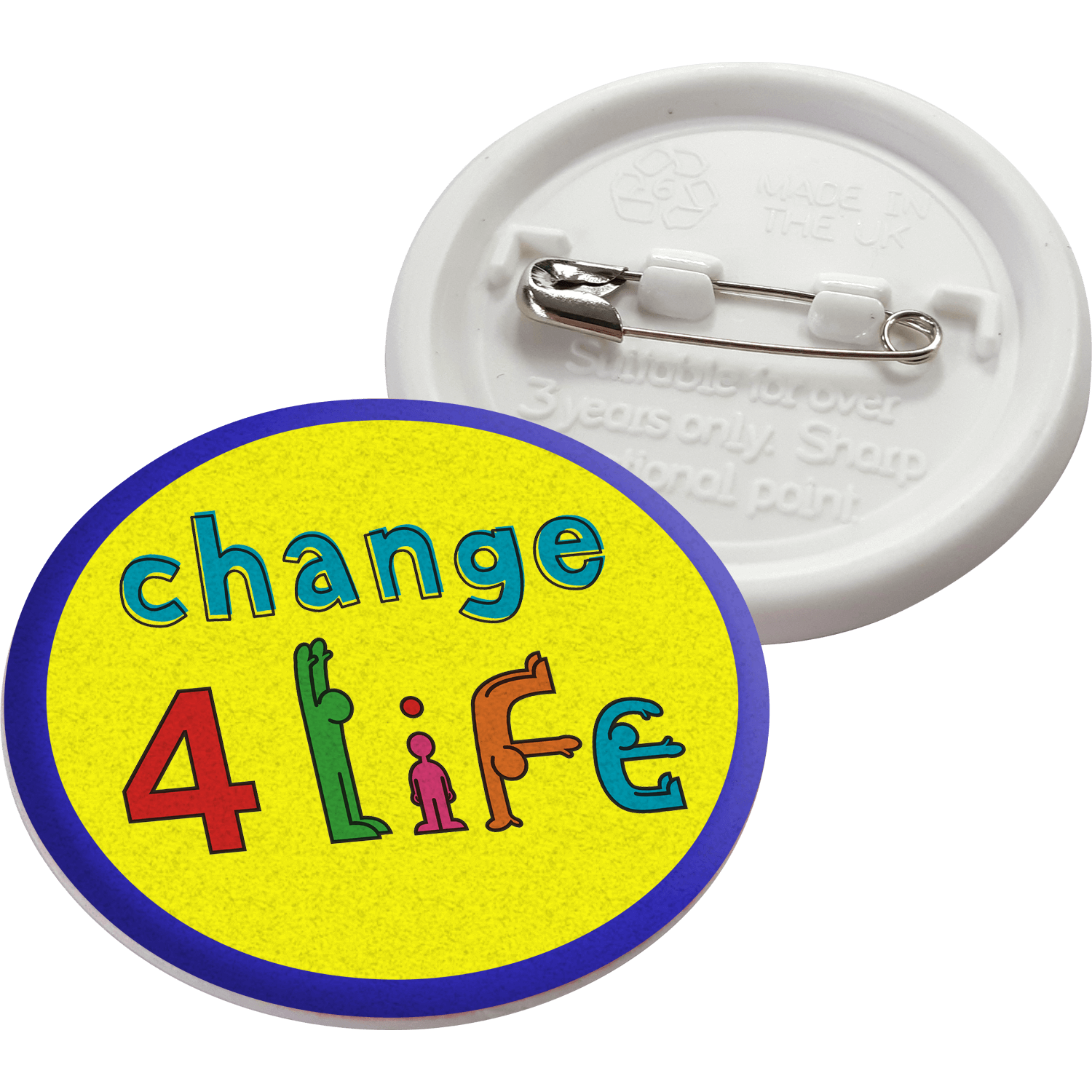 37mm Circle Recycled Plastic Button Badges