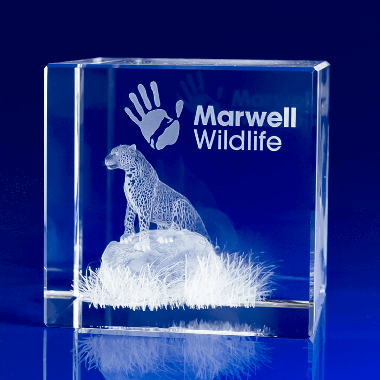 3D Engraved Crystal Award Cube