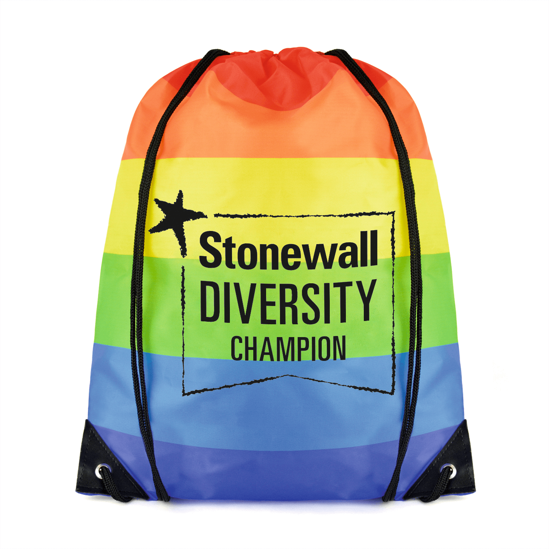 Printed Rainbow Drawstring Bag