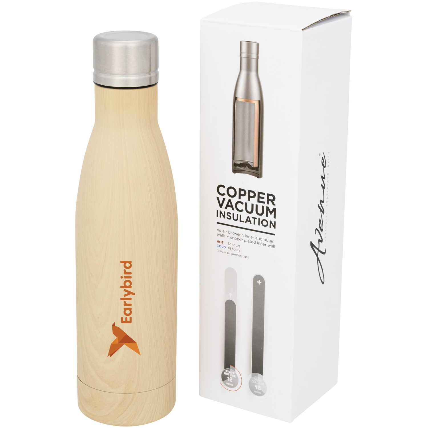 Vasa 500 Ml Wood-Look Copper Vacuum Insulated Bottle