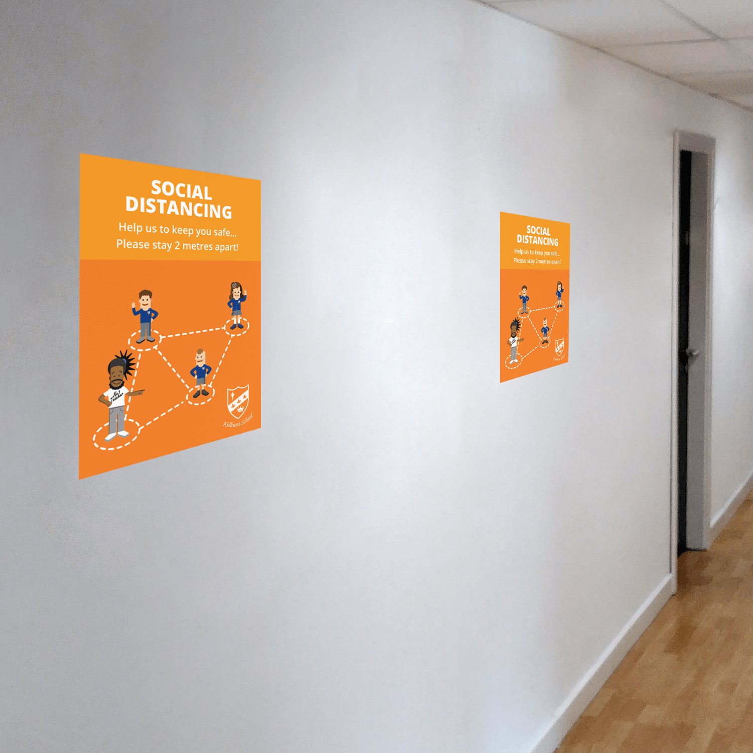 Social Distancing Wall Stickers - A4