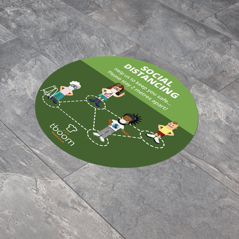 Social Distancing Round 300mm Anti-Slip Floor Sticker