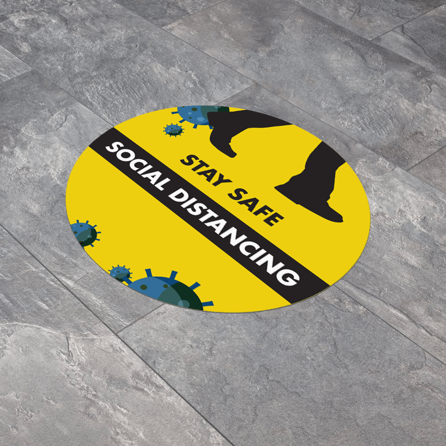 Social Distancing 300mm Round Anti-Slip Floor Sticker