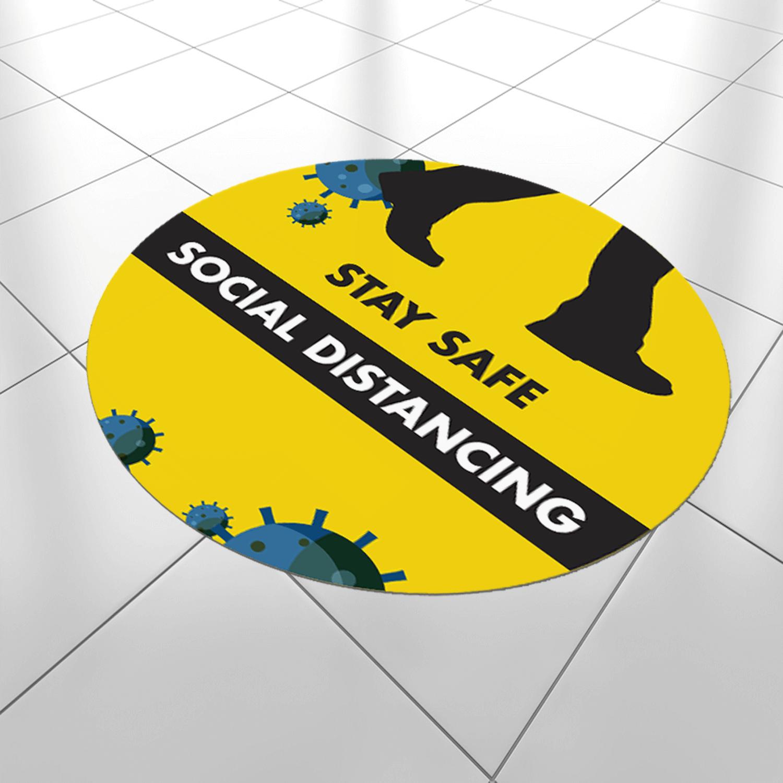 Social Distancing 600mm Round Anti-Slip Floor Sticker