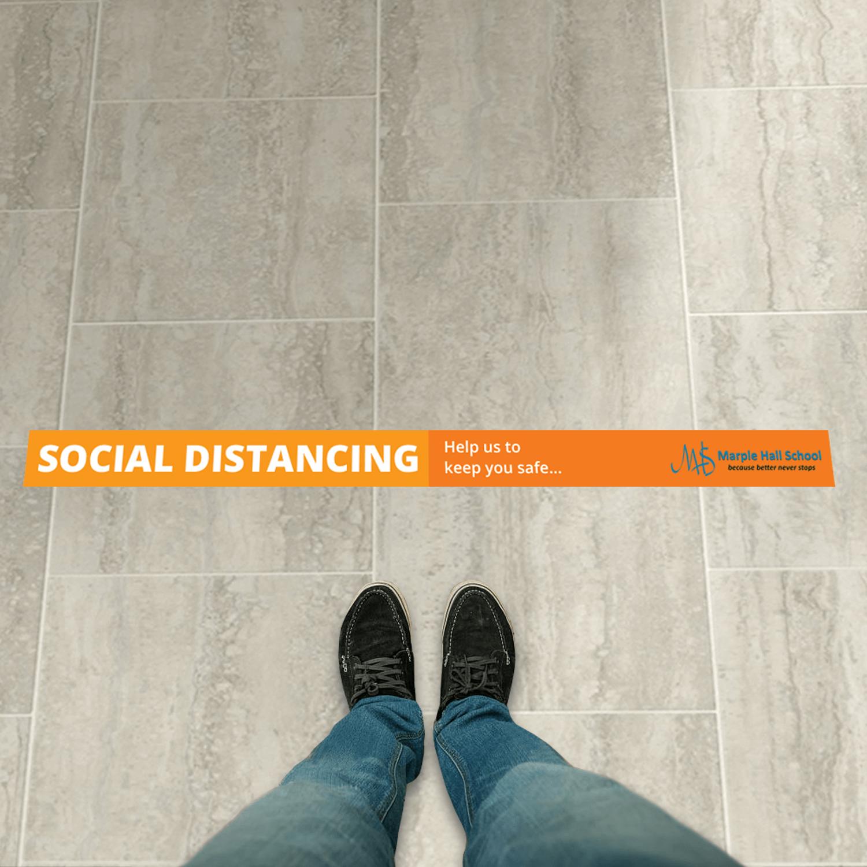 Social Distancing 1500 x 100mm Anti-Slip Floor Sticker