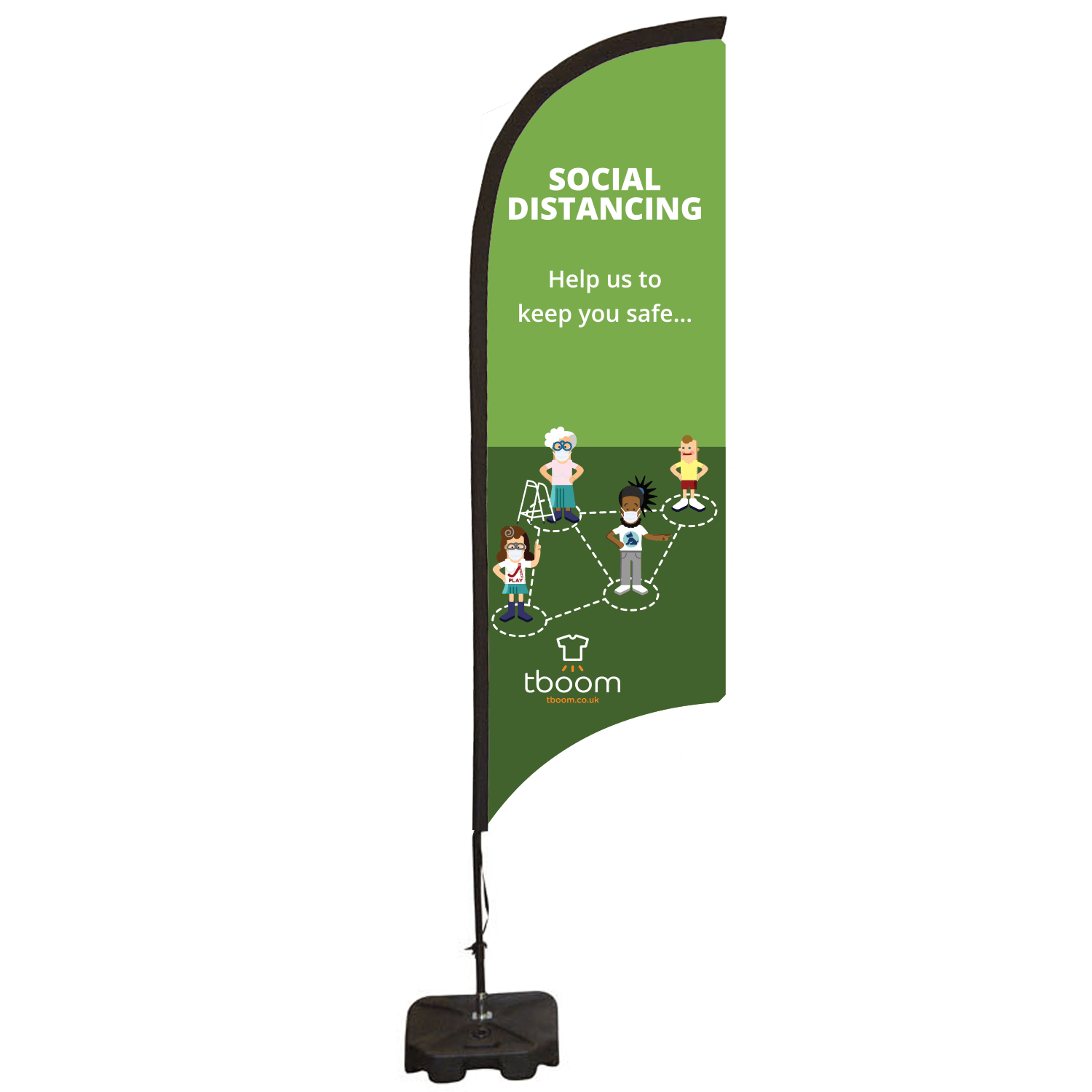 Social Distancing Feather Flag Banner - Small Single Sided