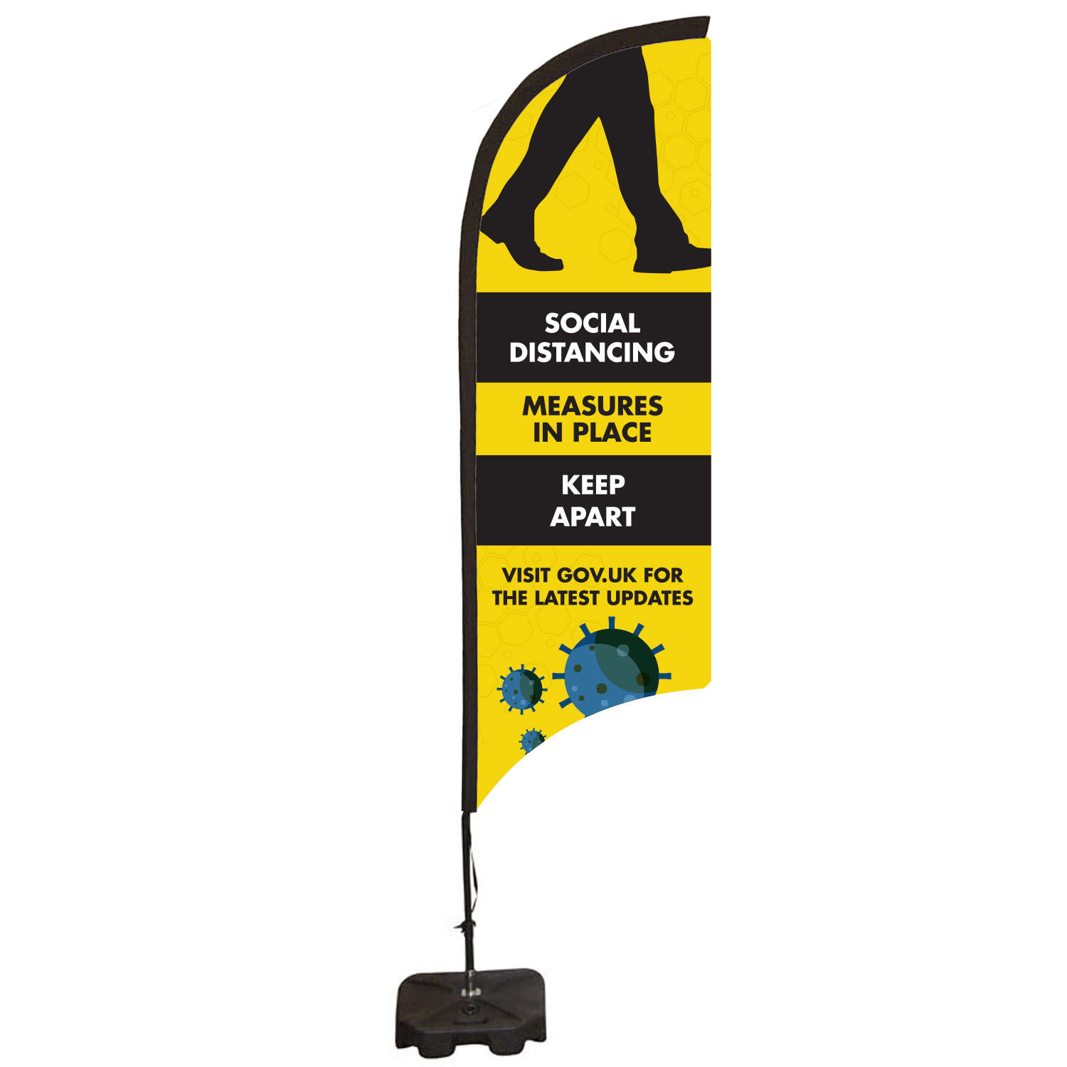 Social Distancing Feather Flag Banner - Small 698 x 2253mm
