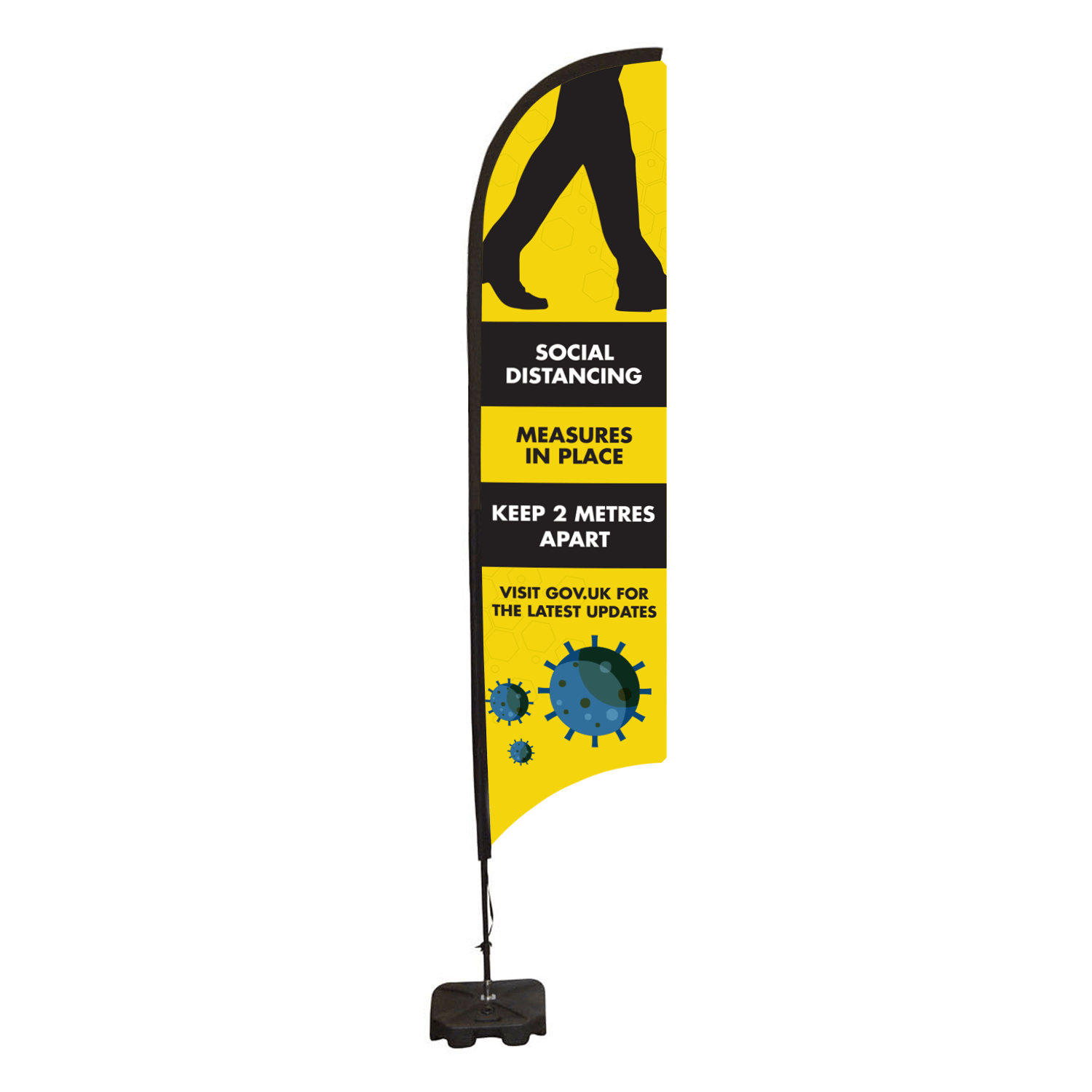 Social Distancing Feather Flag Banner - Medium 749 x 3190mm