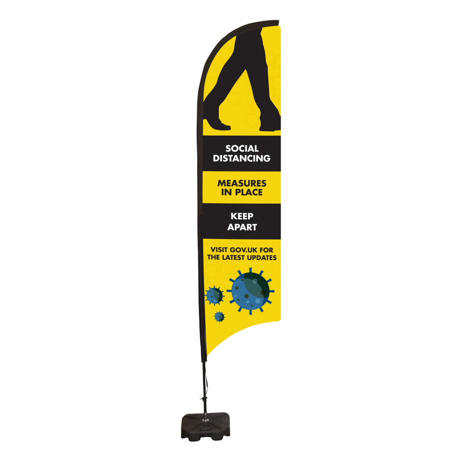 Social Distancing Feather Flag Banner - Medium Single Sided