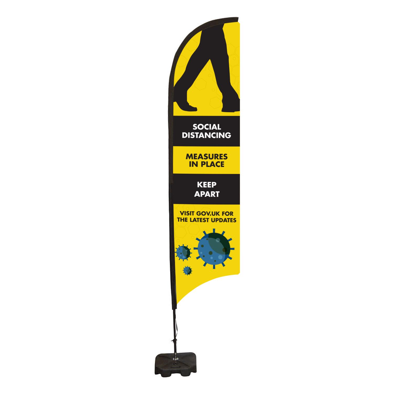 Social Distancing Feather Flag Banner - Medium 749 x 3190mm