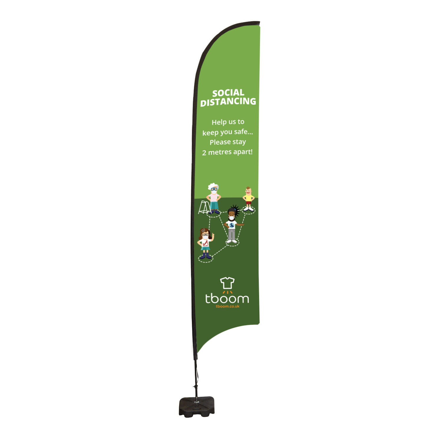 Social Distancing Feather Flag Banner - Large Single Sided