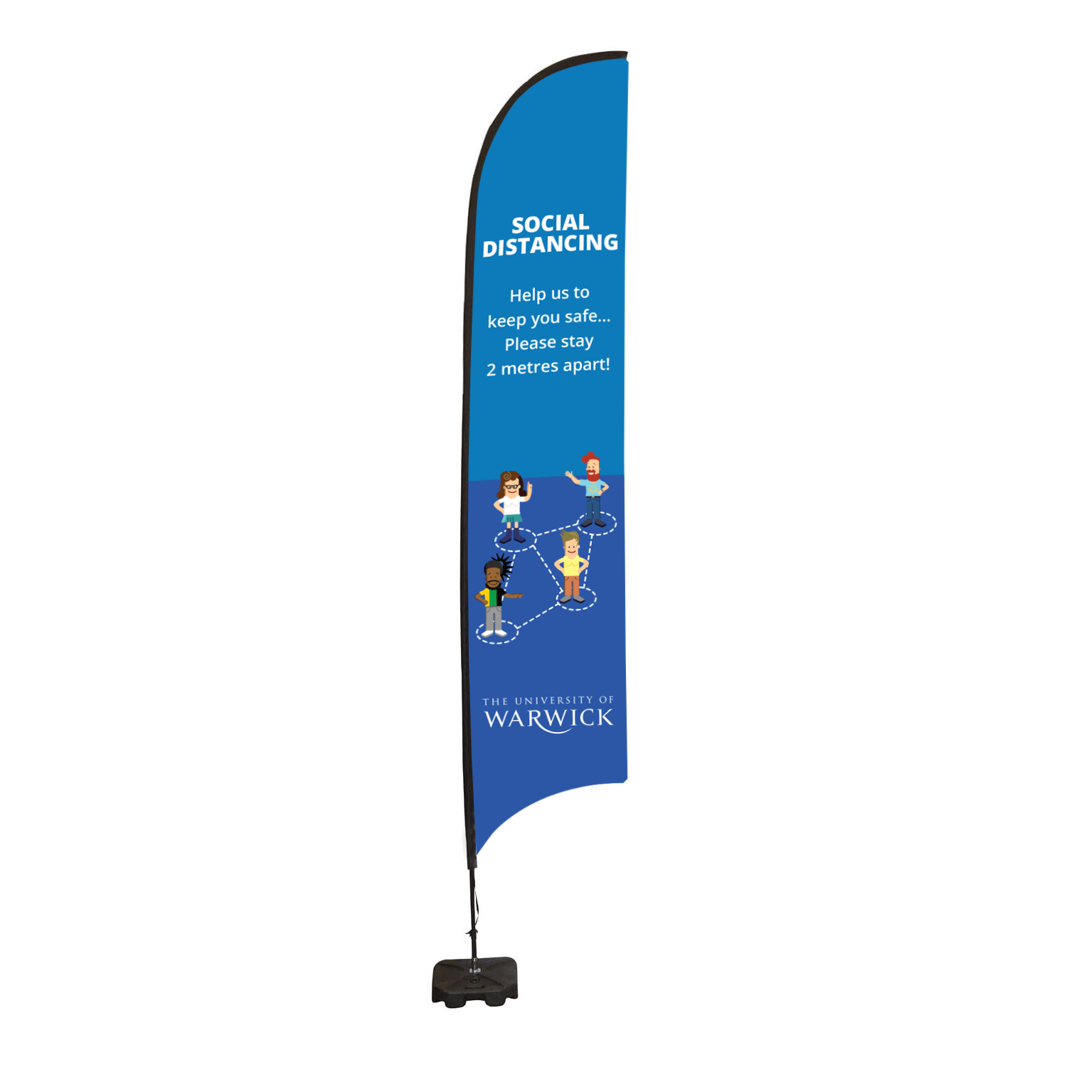 Social Distancing Feather Flag Banner - Large 850 x 4348mm