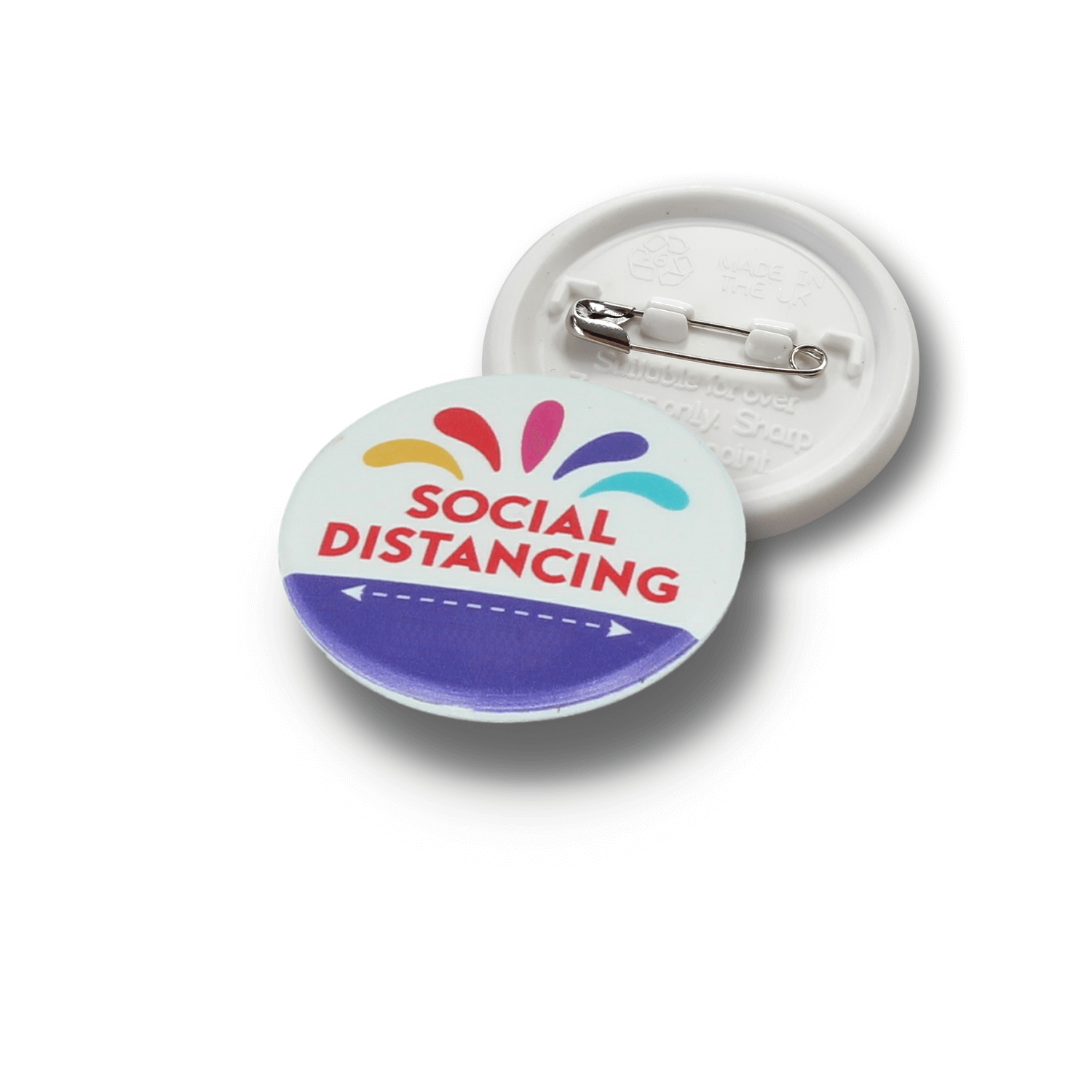 37mm Social Distancing Recycled Plastic Badges