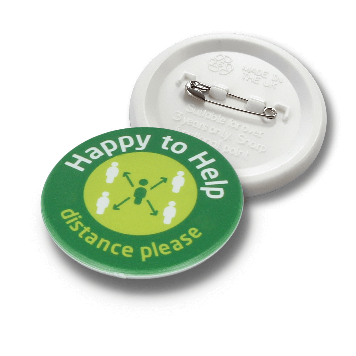 45mm Social Distancing Recycled Plastic Badges