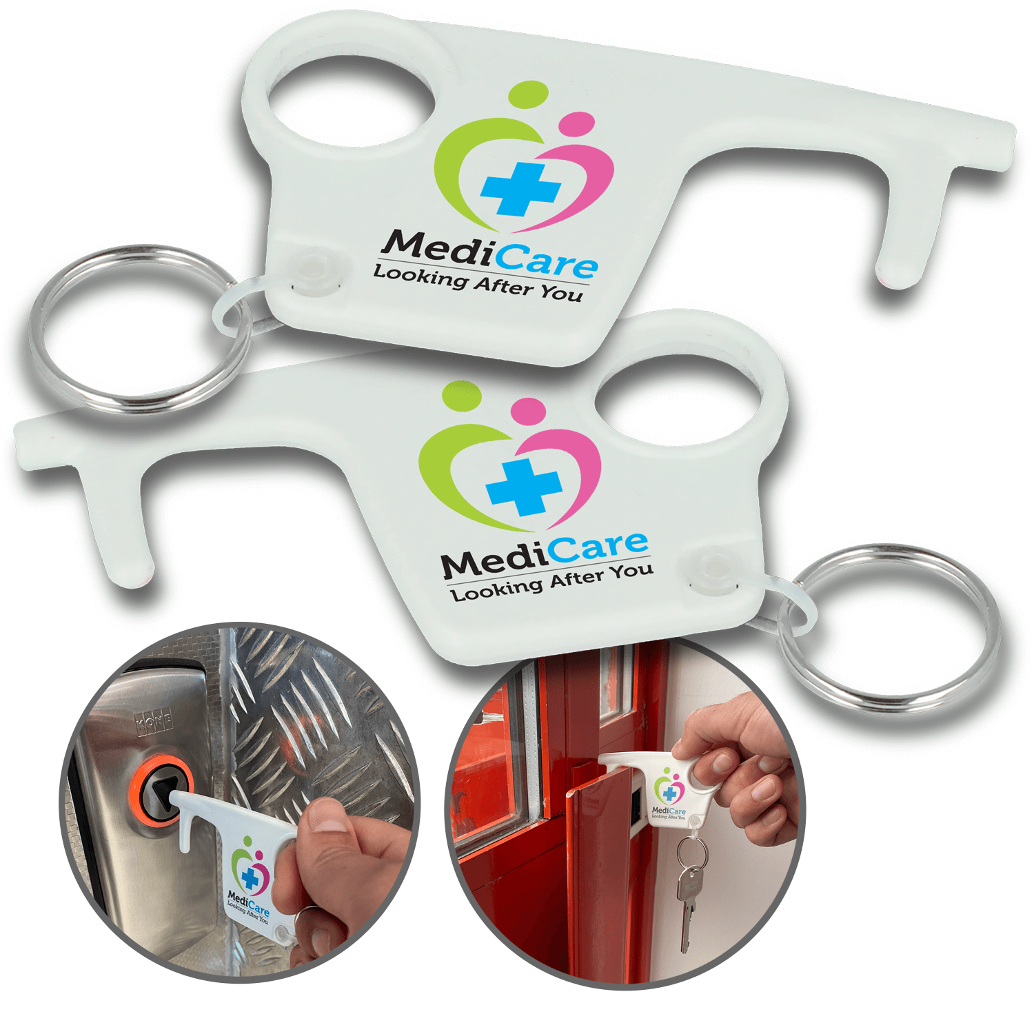 100% Recycled Plastic Hygiene Hook Keyrings - Both Sides
