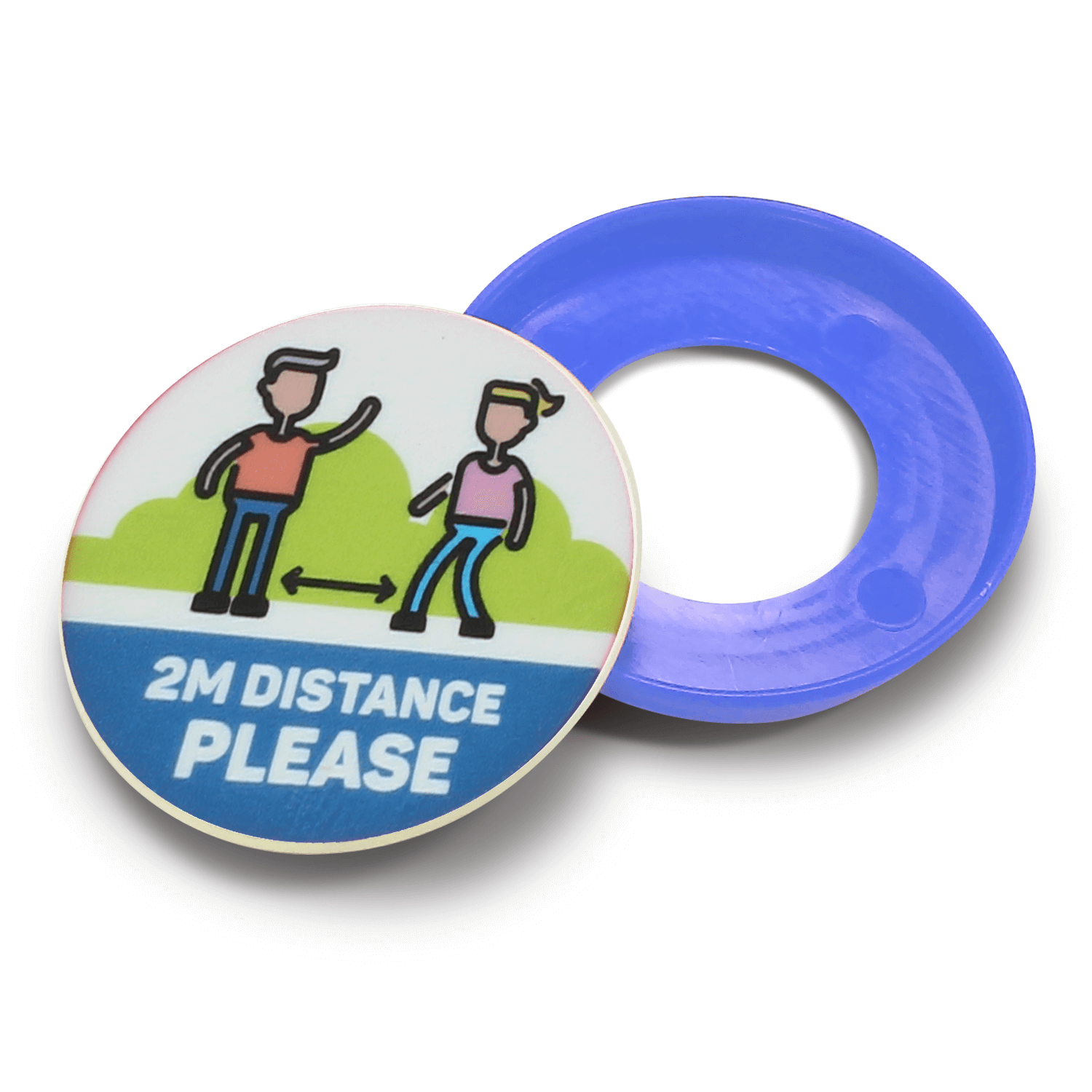 100% Recycled Plastic Kids Social Distancing Safety Pop Button Badges - 45mm