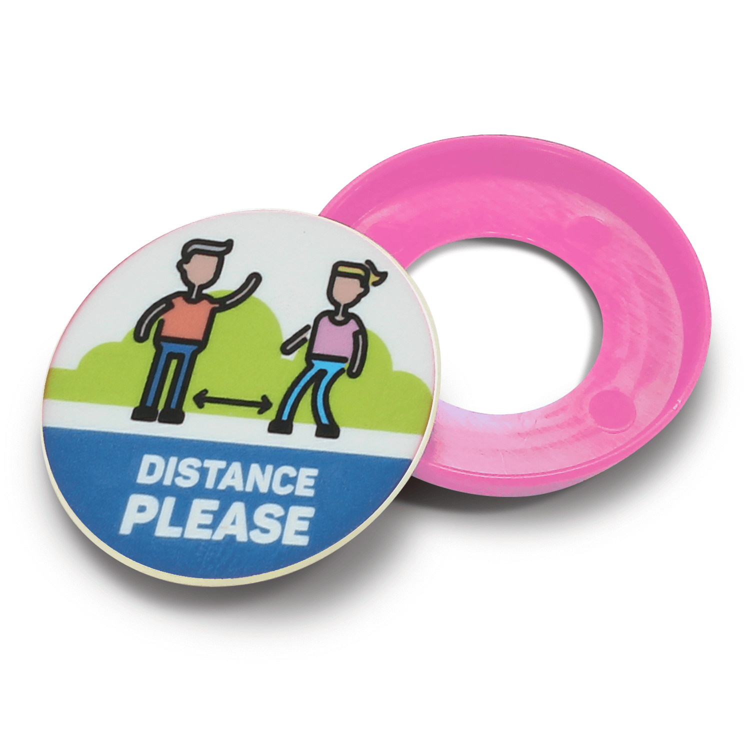 100% Recycled Plastic Social Distancing Kids Safety Pop Badge