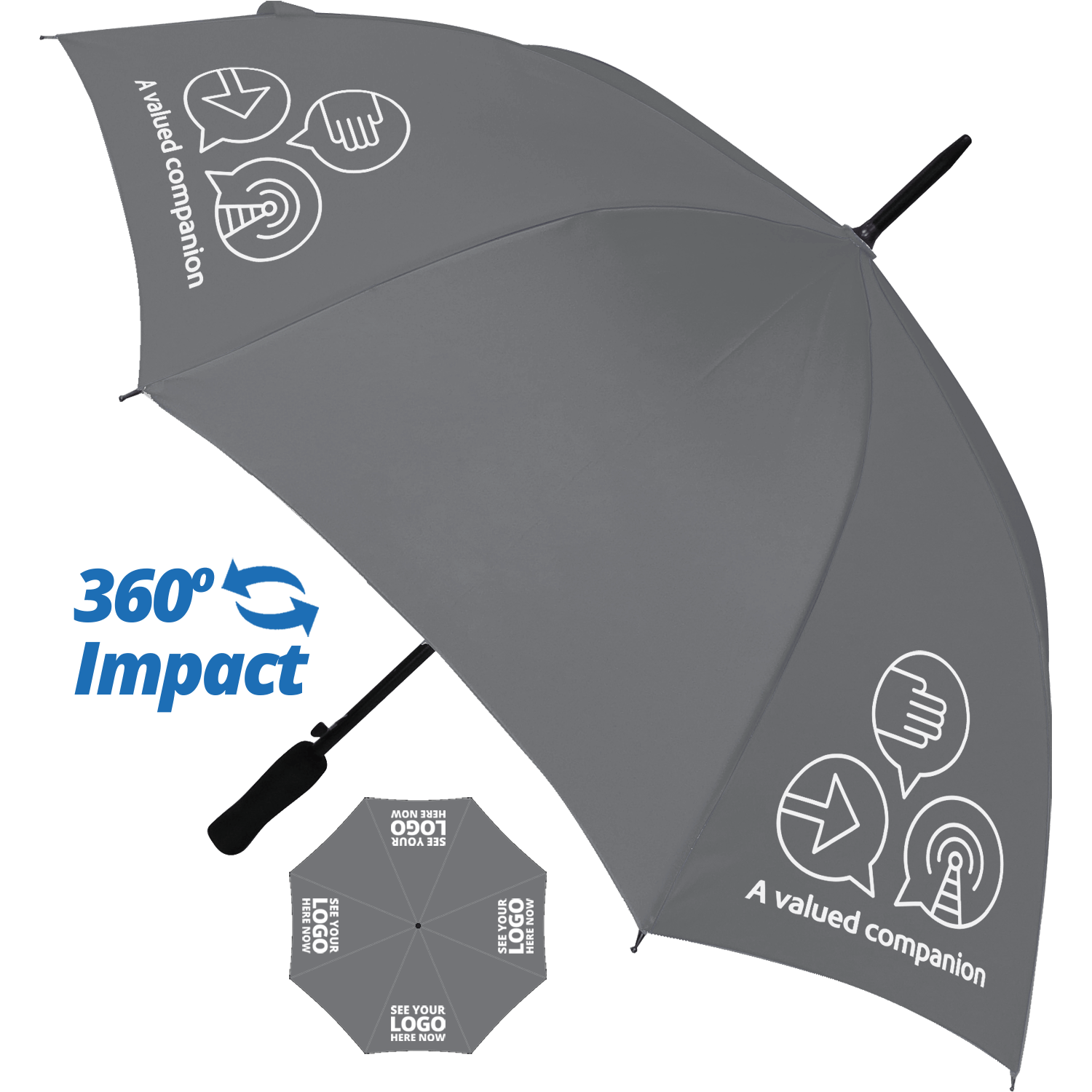 Budget Automatic Walking Umbrella - 4 Panel Print