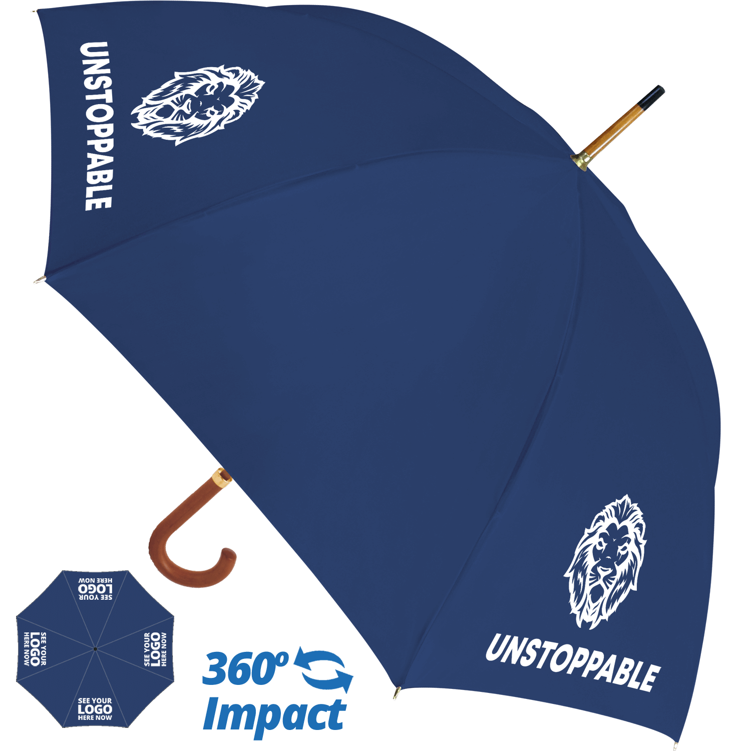 Budget Woodstick Umbrella - 4 Panel Print